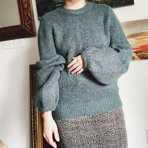 Olive Green H&M Bell Sleeve Knit Sweater
